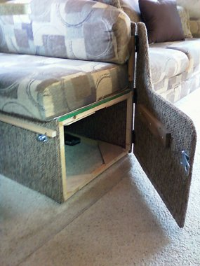 RV dining booth side door
