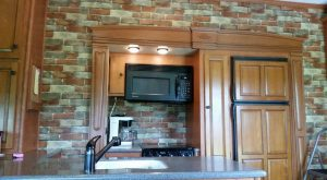brick wallpaper in RV kitchen