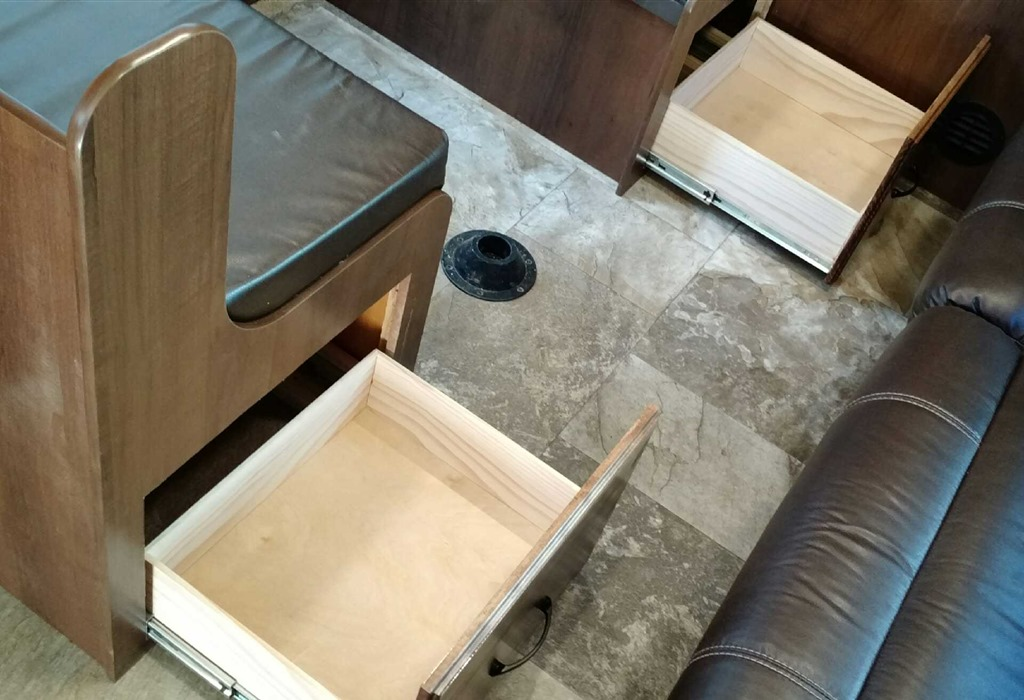 RV dining booth drawers