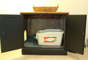 litter box storage idea for RVs, campers, motorhomes, or small apartments