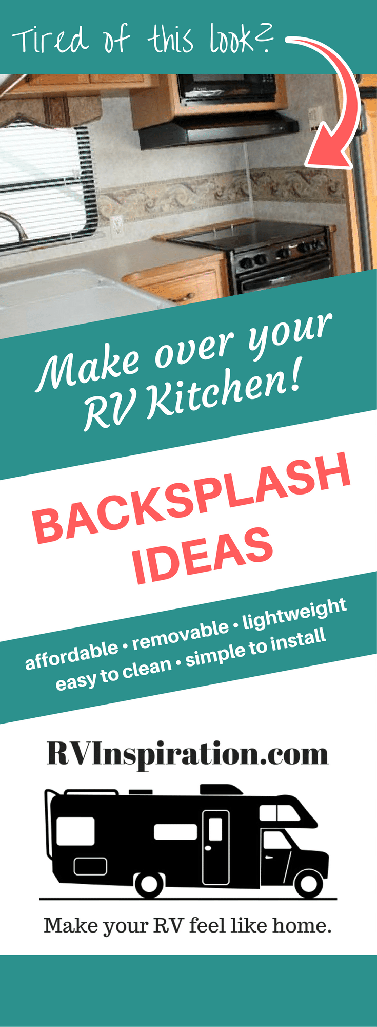 Lightweight, easy to install, removable backsplash ideas for a camper, motorhome, travel trailer, rental home, or apartment kitchen