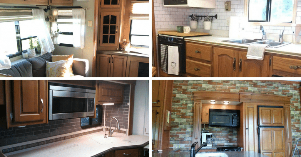7 Ideas For Updating Rvs With Wood Cabinets Without Painting Them Rv Inspiration,Farmhouse Kitchen Designs With Islands