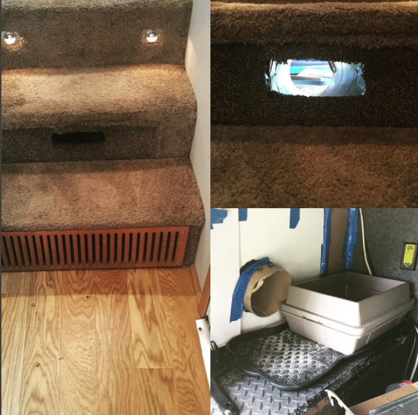 #Cat tunnel to #litterbox in fifth wheel #RV | #storage idea for your #motorhome, #camper, or #traveltrailer | rvinspiration.com