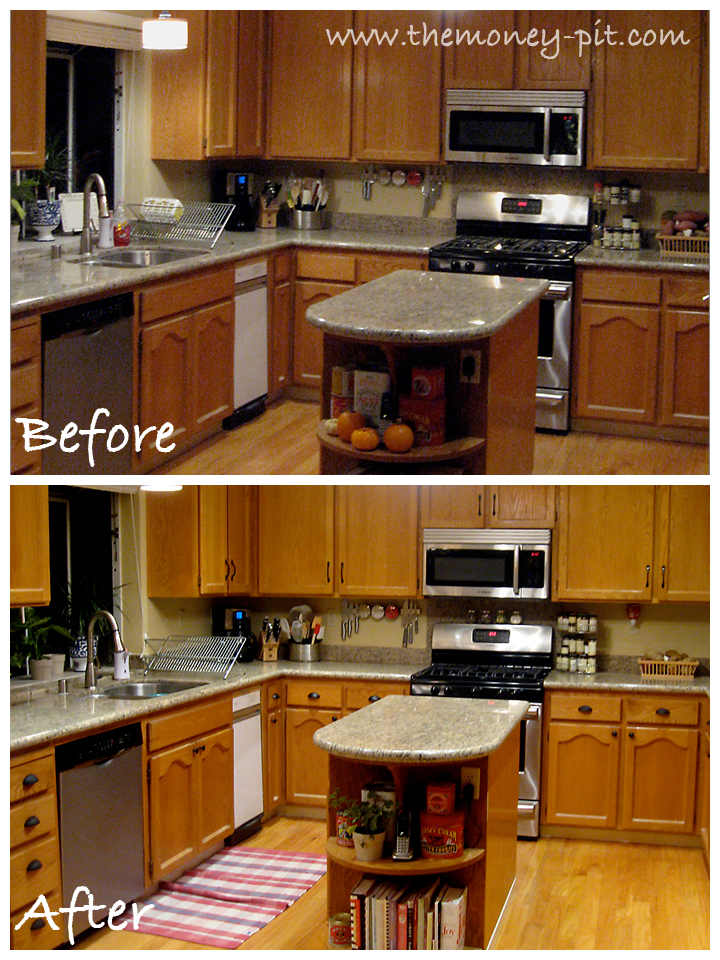 Kitchen before and after new hardware