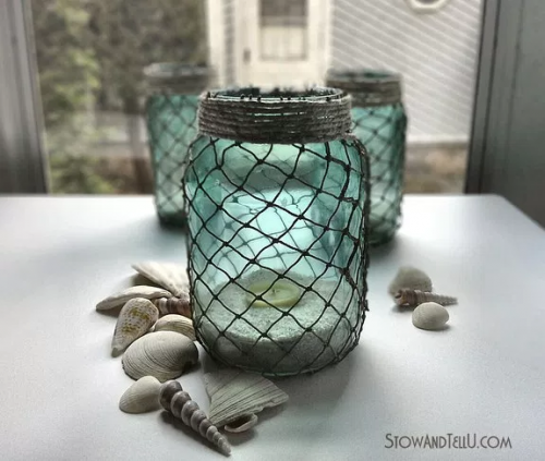 fish net tea light jars