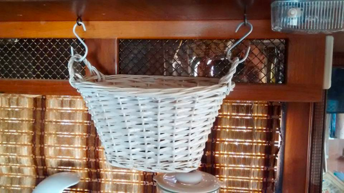 basket hung with S hooks