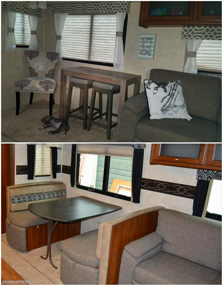 Replaced RV dining booth with a bar table and stools | RVs, campers, travel trailers, and motorhomes without the dinette booth