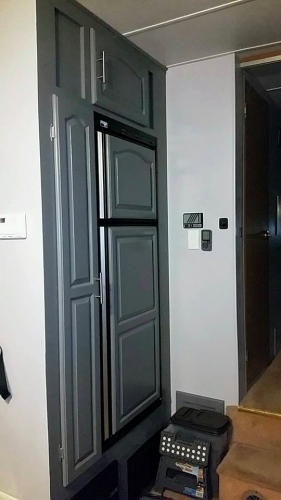 gray painted refrigerator