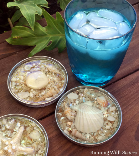 jar lid seashell drink coasters