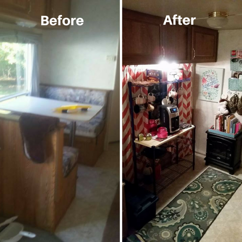 RV kitchen makeover - removed dining booth, added coffee station | RVs, campers, travel trailers, and motorhomes without the dinette booth