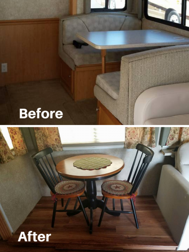 Table and chairs to replace dining booth in RV | RVs, campers, travel trailers, and motorhomes without the dining booth