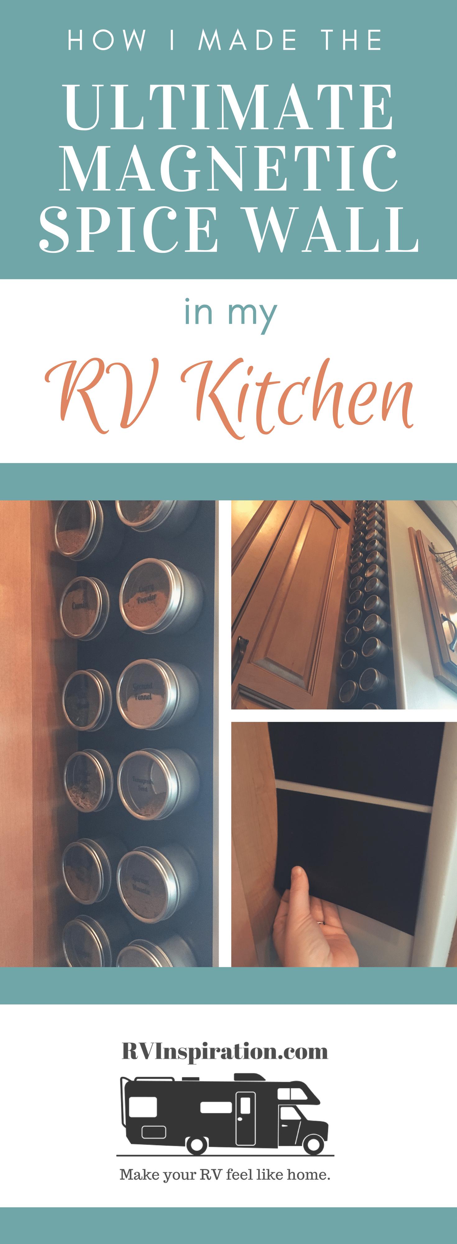 RV kitchen organization: basket hanging over cabinet door, spice tins sticking to magnetic wall
