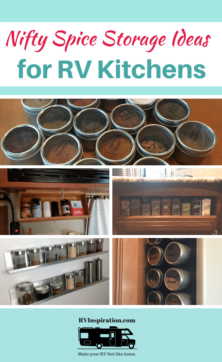 Spice storage ideas to help you organize your #RV kitchen: magnetic, adhesive, racks, caddies, and more! #rvlife #camper #motorhome #traveltrailer