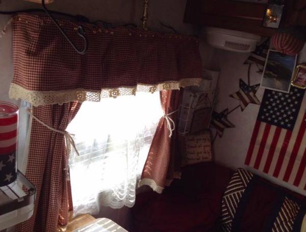 RV window idea: Curtains pinned over cornice / valance