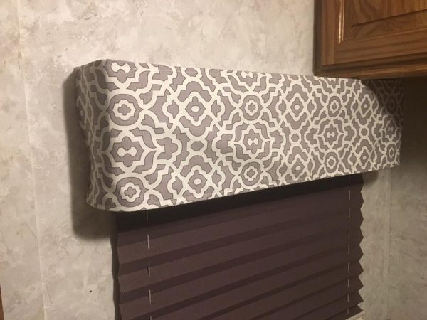 Fabric pinned to cover RV cornice / valance