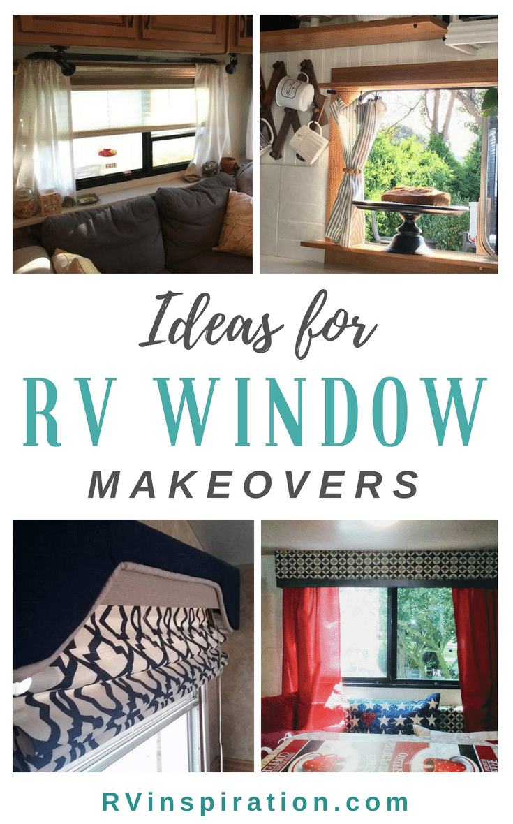 Tons of RV window treatment ideas - get rid of (or disguise!) the factory decor in your camper, travel trailer, or motorhome!