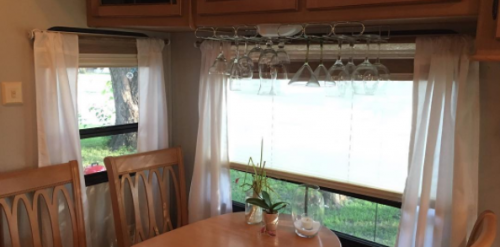 Wine glass storage in RV, camper, motorhome
