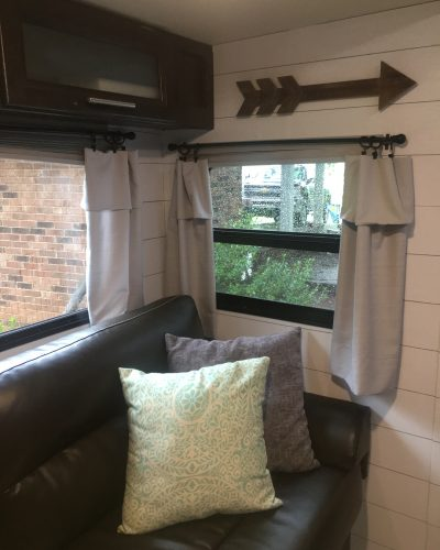Pillow cases used as curtains in an #RV   Window treatment idea for a #camper, #motorhome, or #traveltrailer