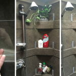 Add DIY removable plexiglass walls to RV shower shelves to keep things from falling off while your camper or motorhome is moving.