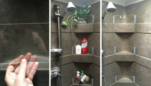 Plexiglass walls for camper or motorhome bathroom shower shelves to keep items from falling while the RV is moving
