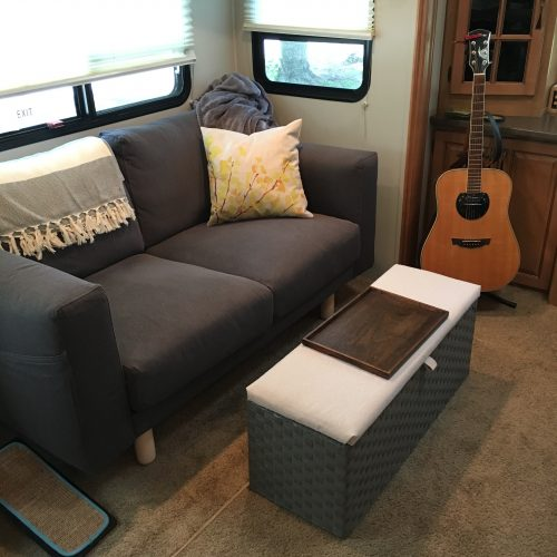 Norsborg sofa love seat from Ikea and storage ottoman for shoe storage | rvinspiration.com