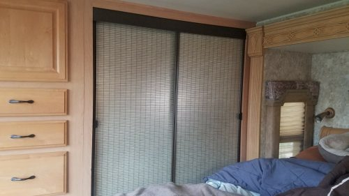 Bamboo window film makeover for mirror closet sliding door in RV, camper, motorhome, or travel trailer