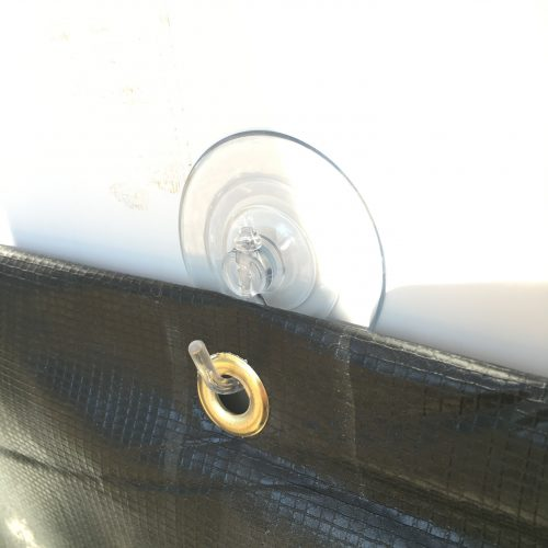 Suction cup used to hang RV skirting - didn't work.