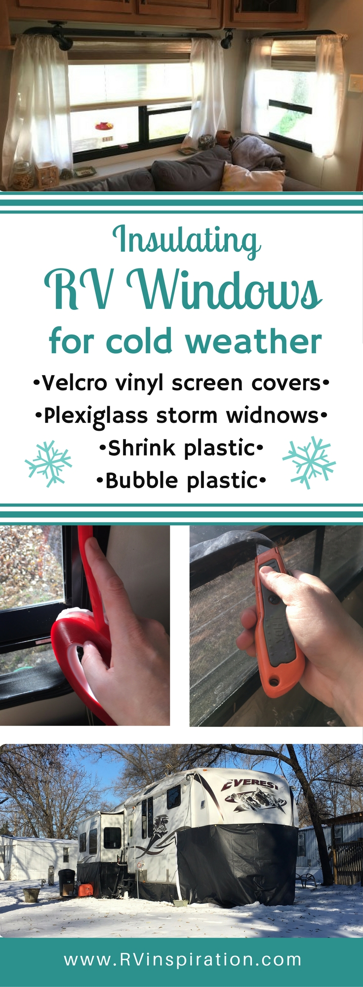 Here's how I made DIY plexiglass storm windows and clear vinyl Velcro screen covers to prepare my RV for cold weather this winter.