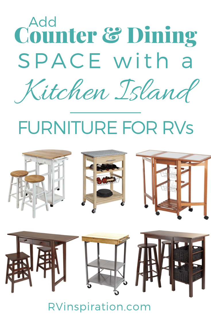 An RV kitchen island can add extra counter space to a camper or motorhome.