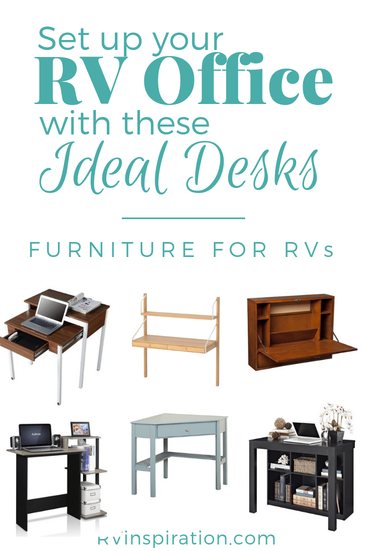 These desks would be perfect for an RV office. | #RVoffice #RVworkspace #Mobileoffice #RVofficeideas