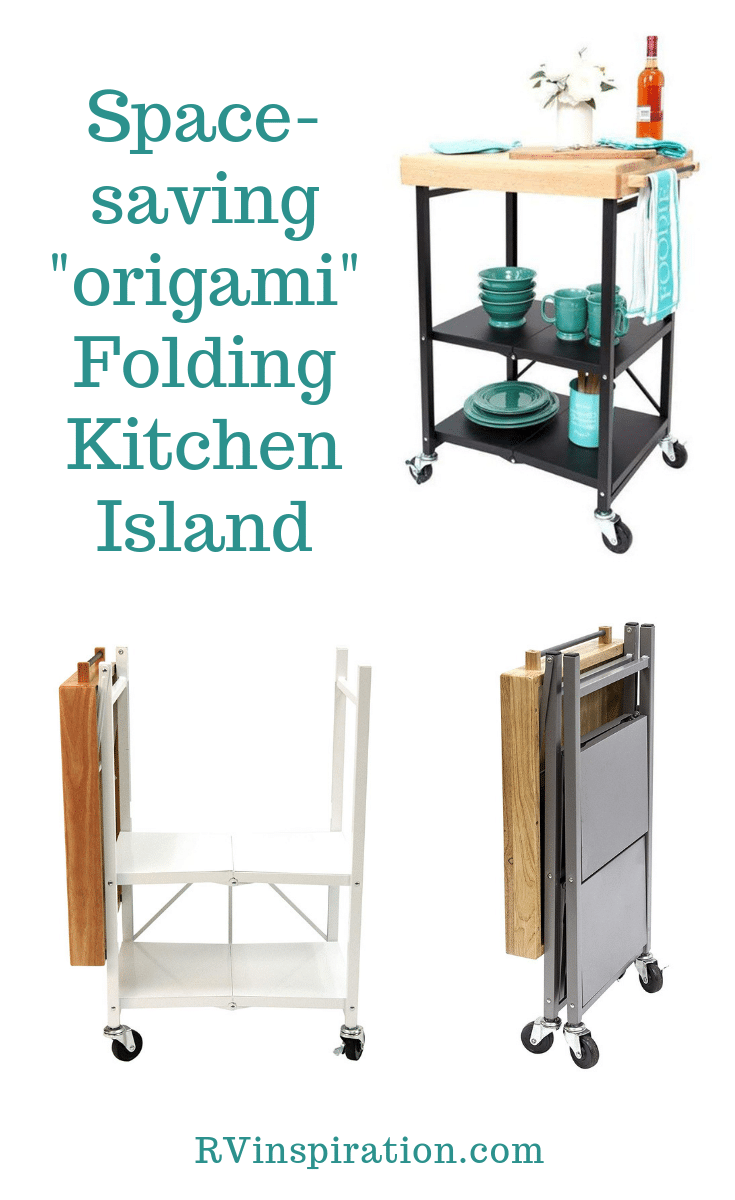 Save space in a small kitchen with this folding island cart. | rvinspiration.com #RV #RVlife #TinyHome #SmallApartment