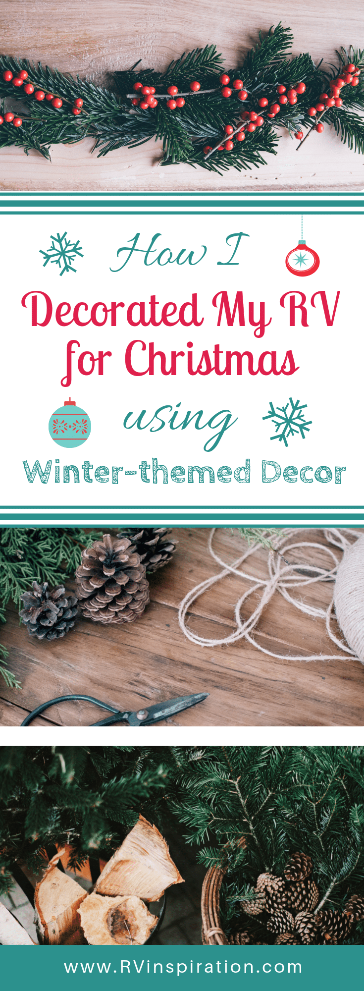 If you're camping or living in a travel trailer or motorhome this Christmas season, here are some ideas for decor that won't take up too much storage space in your RV.