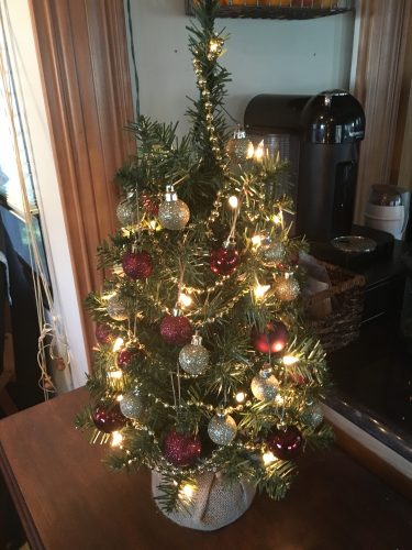 Table top Christmas tree - perfectly sized for RV holiday decor.