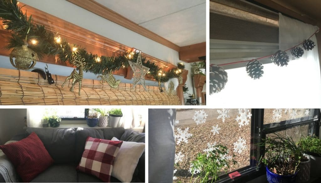 If you're camping or living in a travel trailer or motorhome this Christmas season, here are some ideas for decor that won't take up too much storage space.