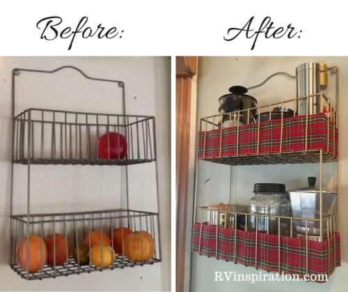 Gold spray paint and a cheerful ribbon transformed this metal wall basket.