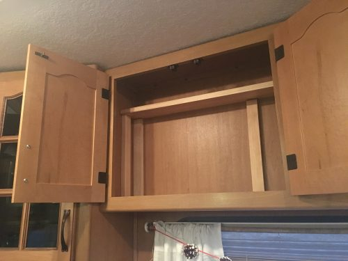 Easy no-drill way to add a cheap, removable shelf to an RV