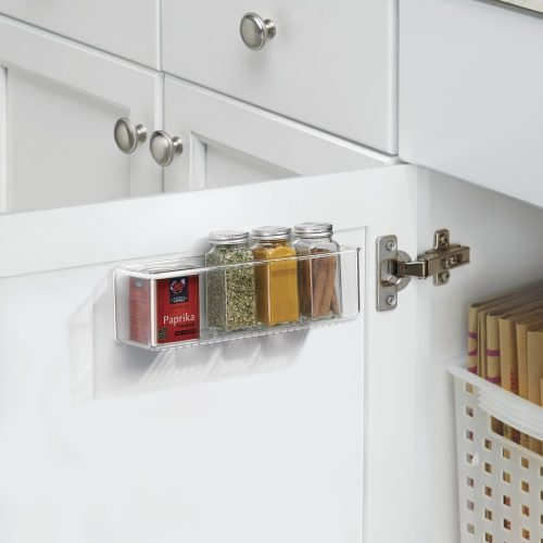 Adhesive acrylic caddy for kitchen or bathroom storage or organization - spice holder