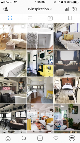 Instagram account sharing photos of amazing RV makeovers and renovations