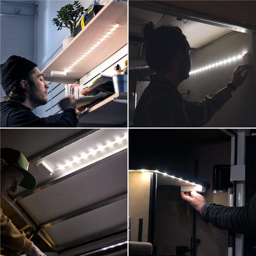 Battery powered LED light strip for lighting under cabinets or shelves
