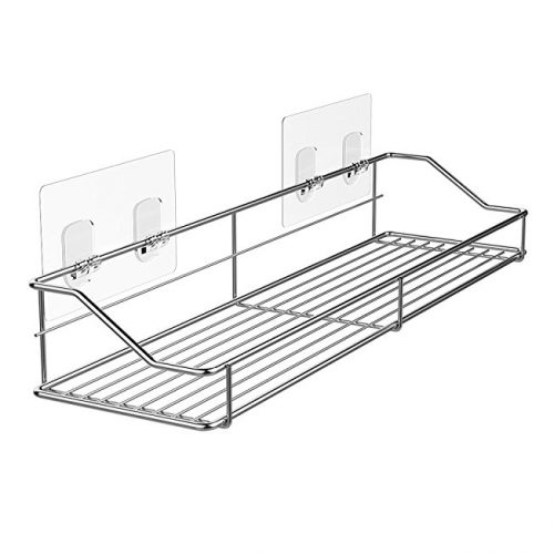 adhesive storage and organization shelf for bathroom, kitchen, shower, and more!