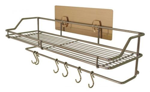 adhesive storage and organization shelf with hooks for bathroom, kitchen, shower, and more!