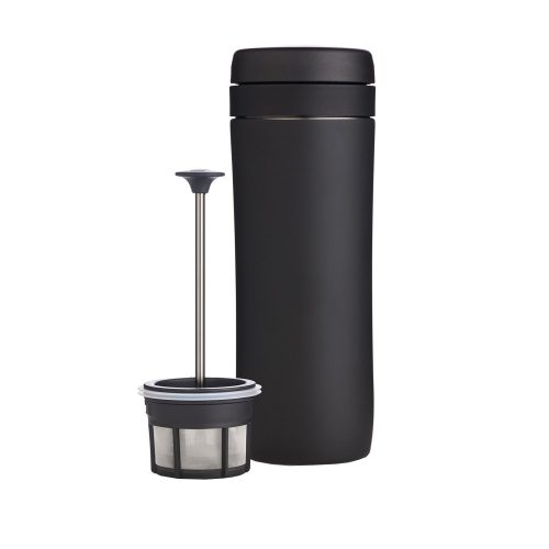 A French Press travel tumbler is a space saving replacement for a coffee maker.