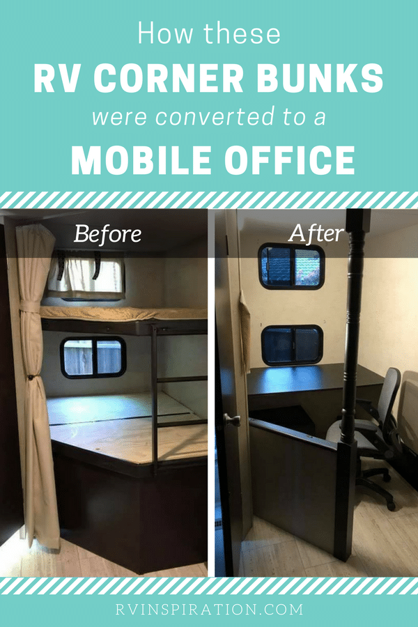 How A Corner Rv Bunk Room Was Converted To A Mobile Office