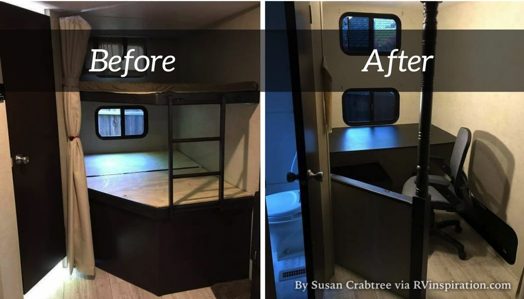 Picture of: How A Corner Rv Bunk Room Was Converted To A Mobile Office Rv Inspiration