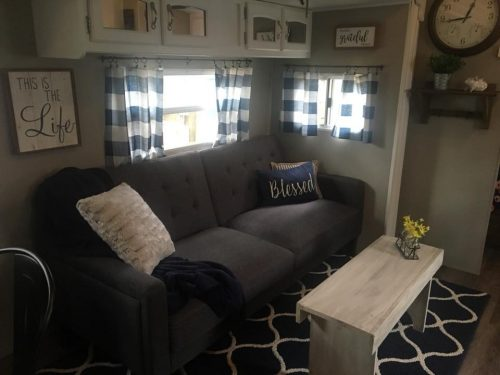 Farmhouse style decor used in RV makeover by Jennifer Reid
