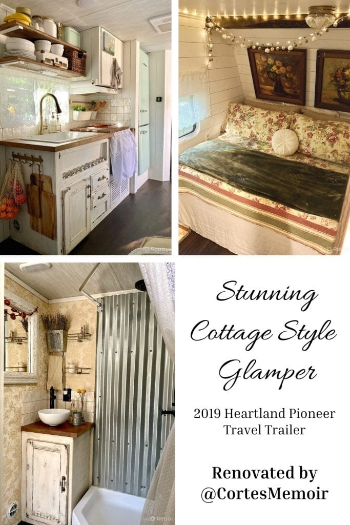 2019 Heartland Pioneer travel trailer renovated with vintage style decor by @CortesMemoir