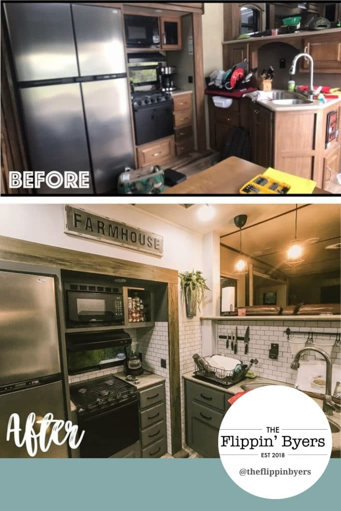 2016 Keystone Laredo fifth wheel with a farmhouse style makeover by Jessica Byers of @theflippinbyers