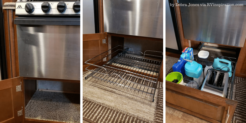 Slide out drawer added to #kitchen #cabinet under #RV stove
