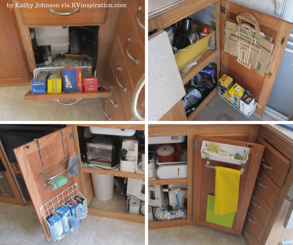 Cabinet doors can be used to add extra #storage space and help #organize an #RV #kitchen.