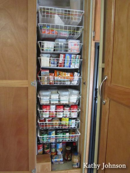 This storage solution helps things in this #RV #kitchen #pantry cabinet stay #organized.